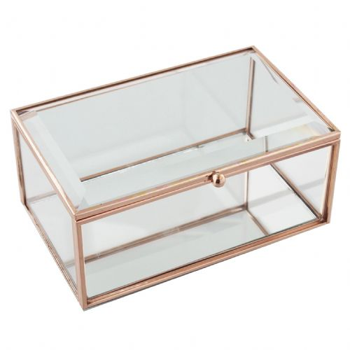 Clear Glass Vintage Style Jewellery Box